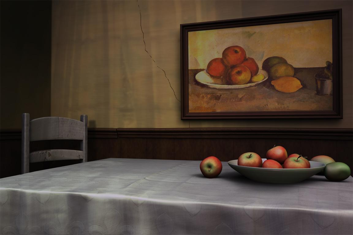 A painting of fruit on a table.
